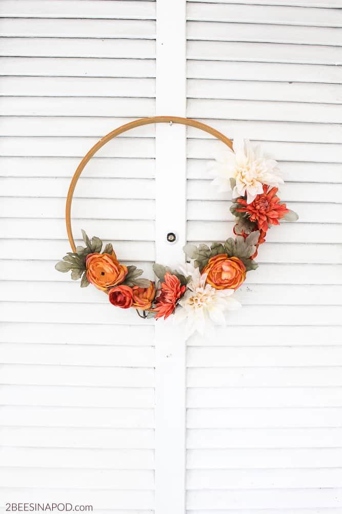 Fall flower embroidery hoop wreath