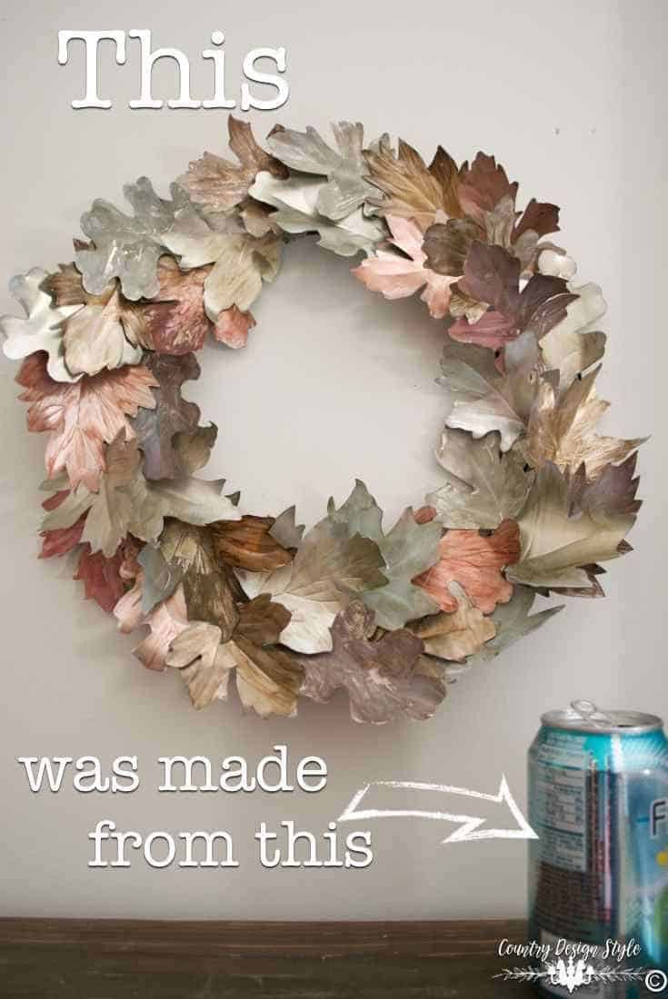 Fall leaves wreath made from pop cans