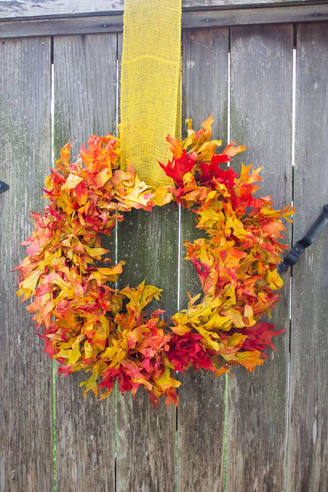 Faux fall leaf wreath