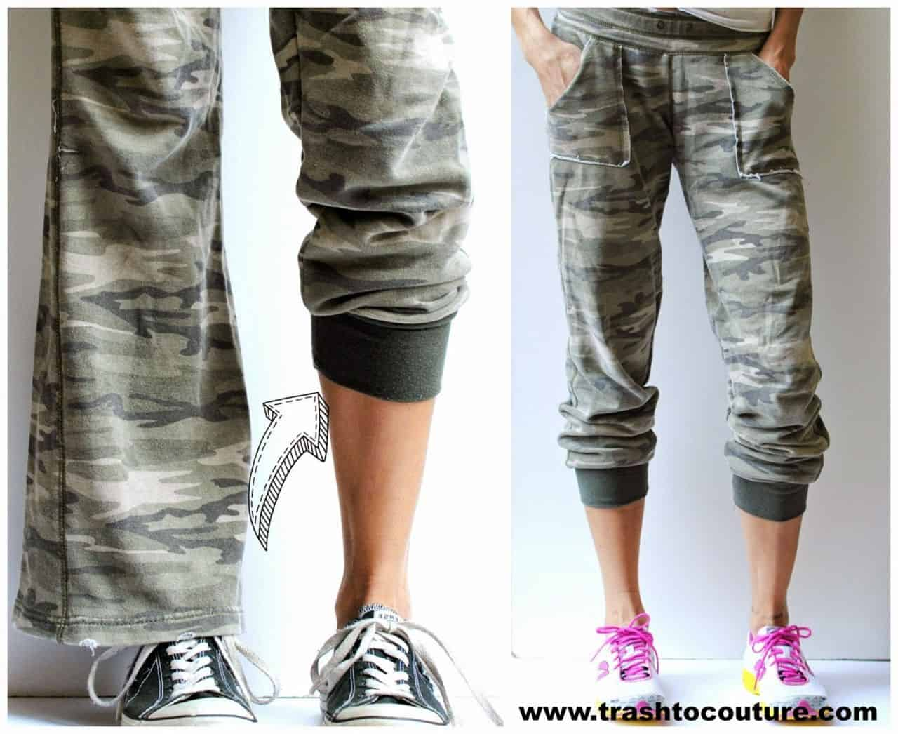 Flared to cuffed sweatpants tutorial 15 Warm DIY Sweatpants for Fall