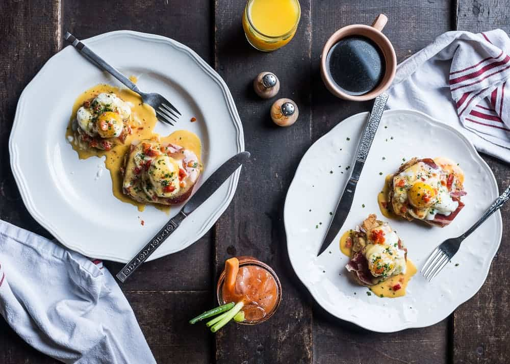 Fried green tomato Benedict with pimento cheese hollandaise