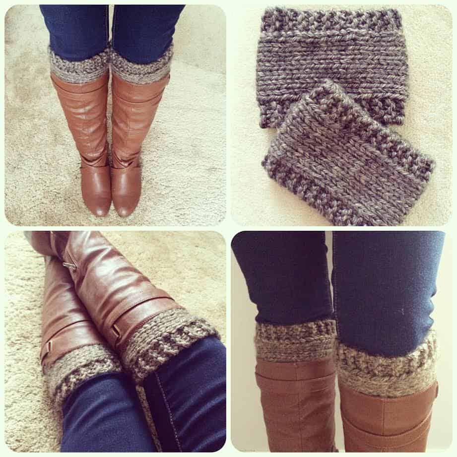 Garter and stockinette boot cuffs