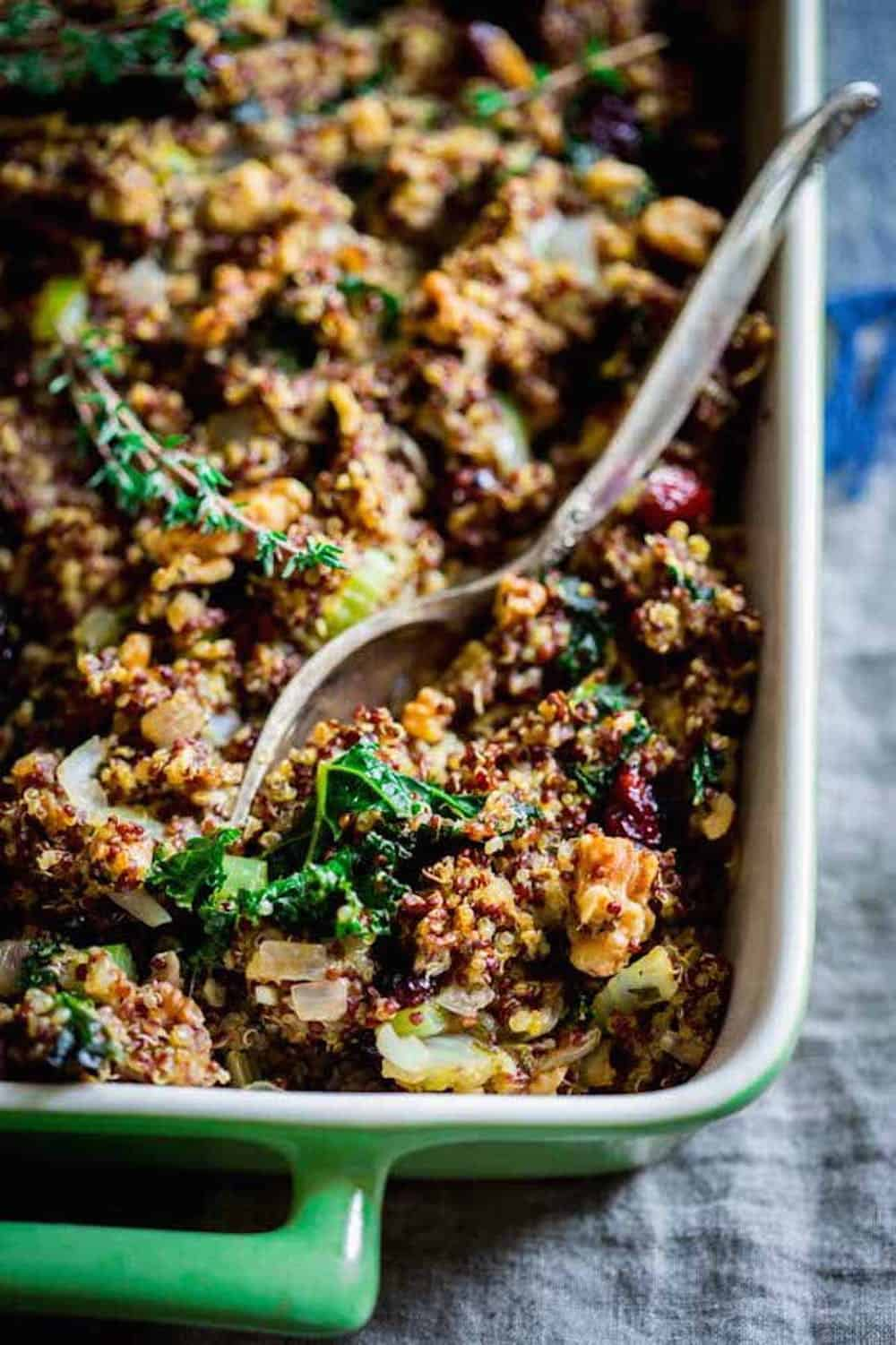 Gluten free walnut and kale quinoa stuffing