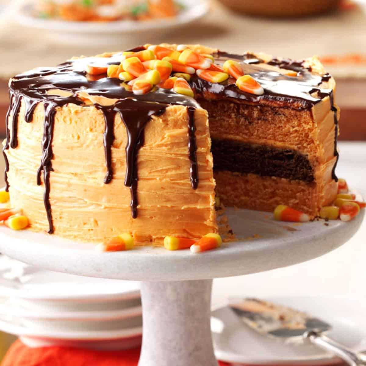 Halloween coloured layer cake