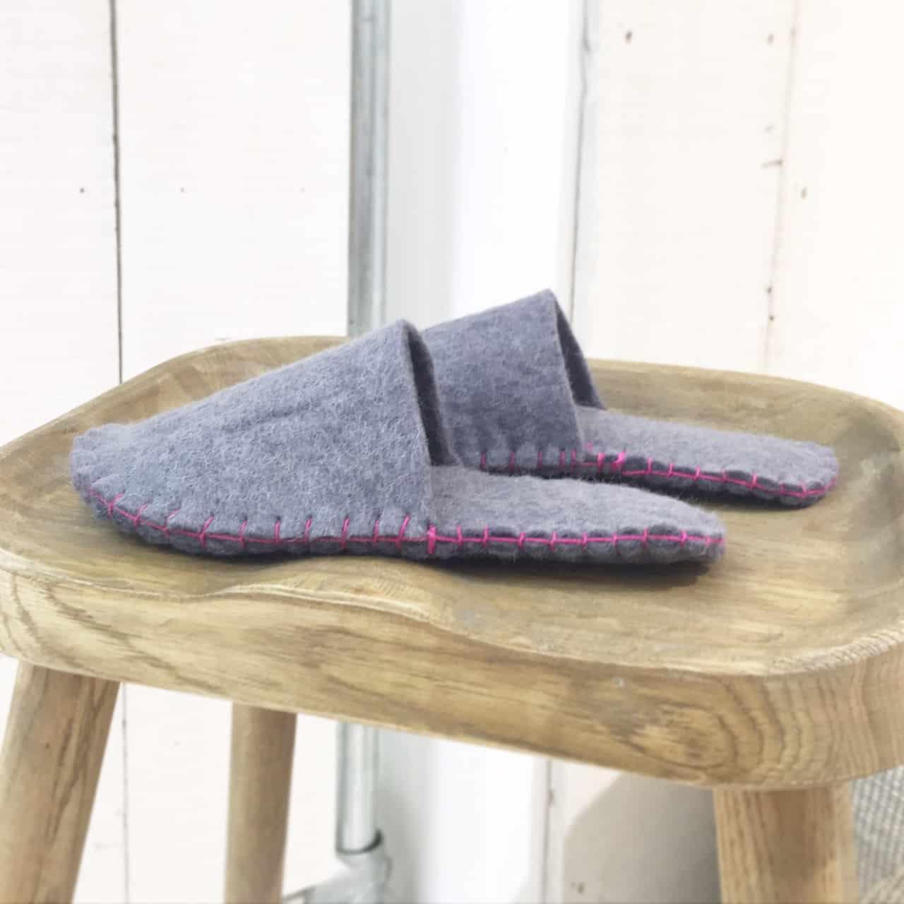 Hand sewn contrast colour felt slippers