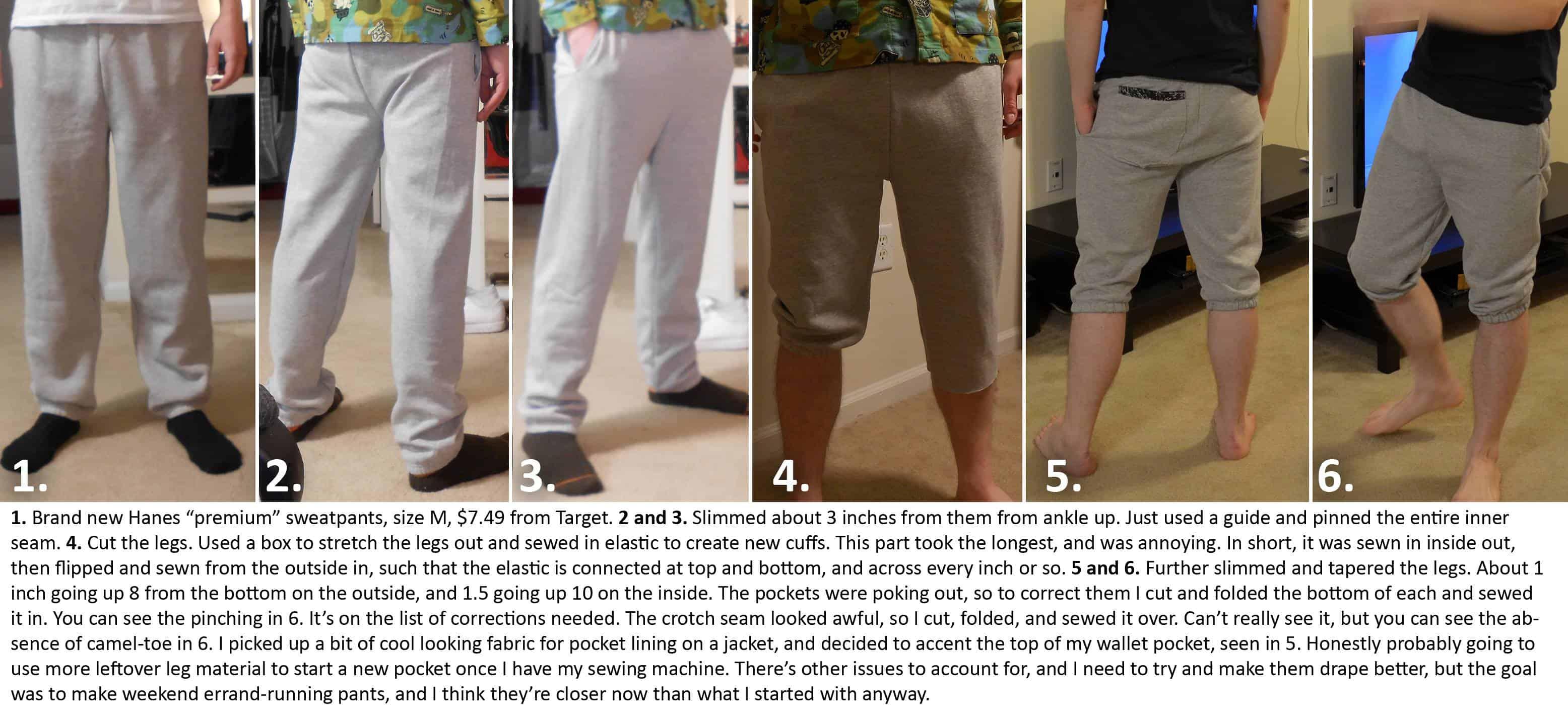 Hand sewn cropped sweatpants