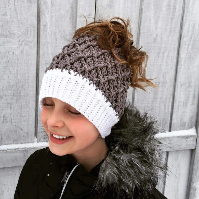 Harlequin slouch ponytail hat