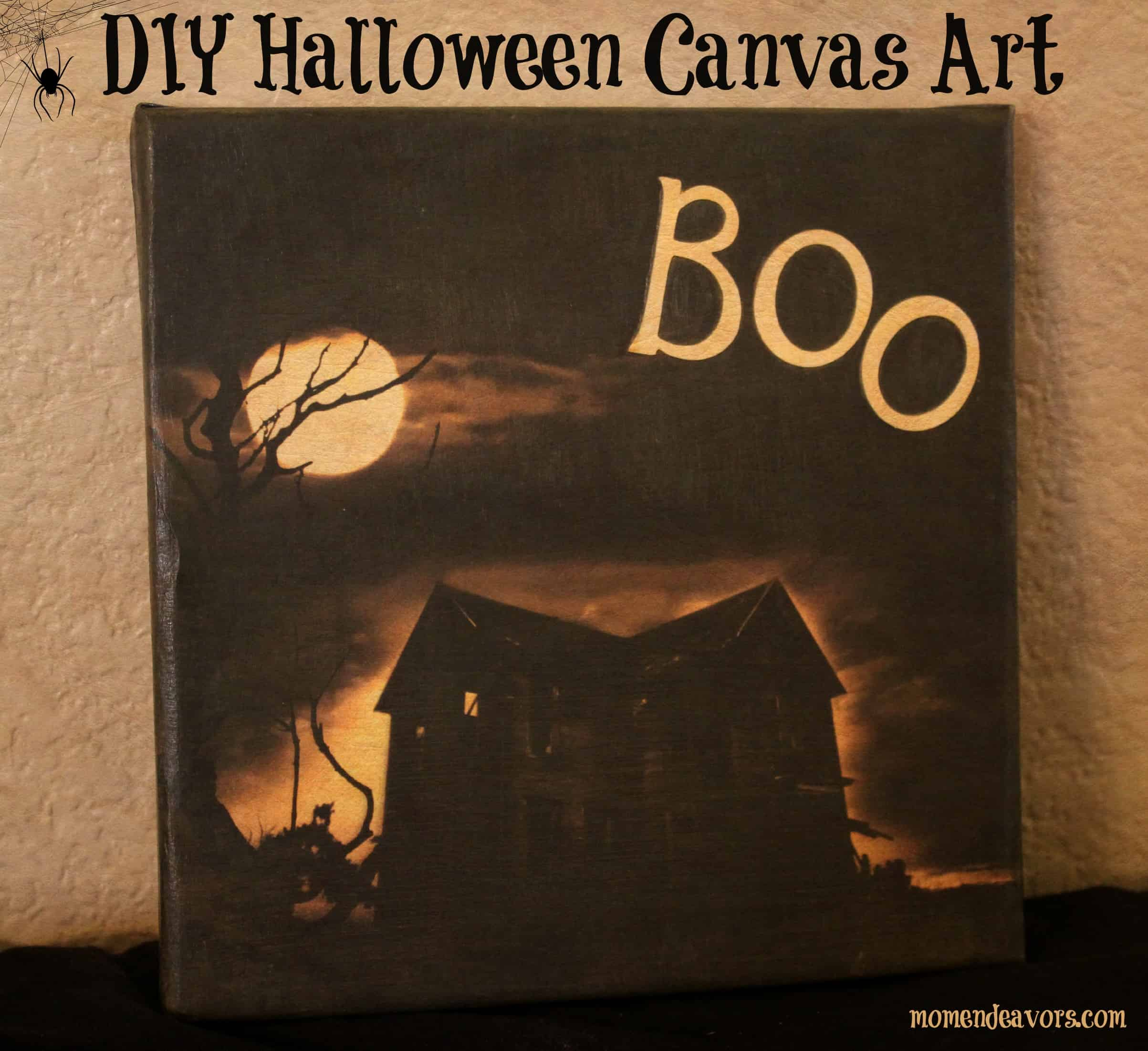 Haunted house Halloween canvas 15 DIY Halloween Canvas Crafts
