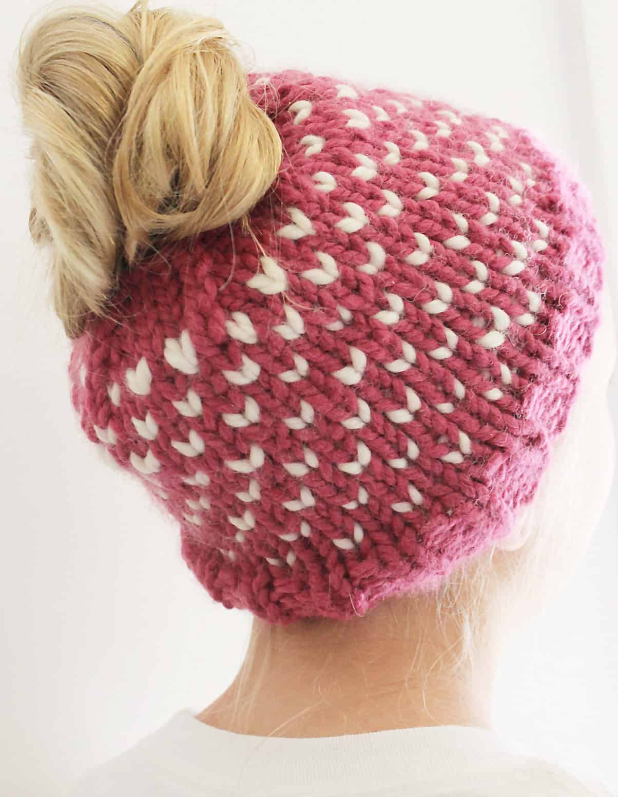 Hearts bun hat