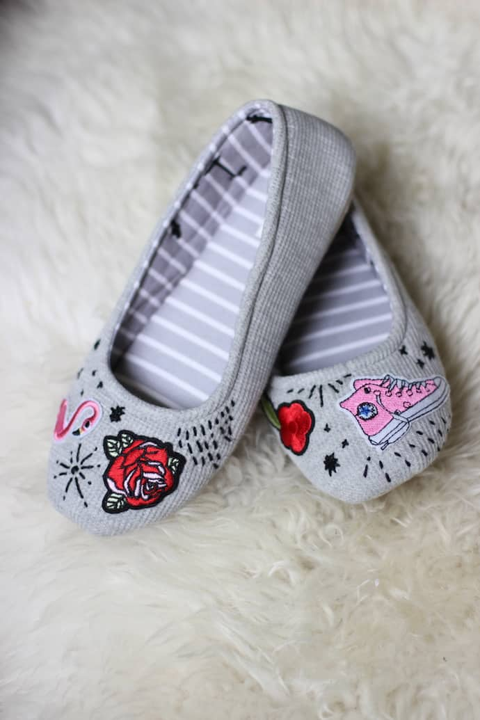 Iron-on patch slippers