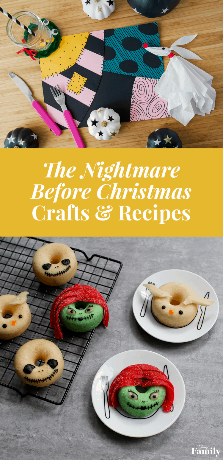 Jack and Sally donuts 15 The Nightmare Before Christmas Themed Crafts