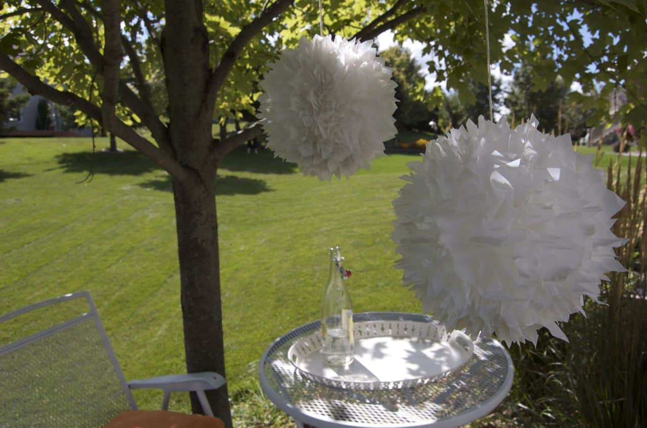 Jumbo plastic bag pom pom decor