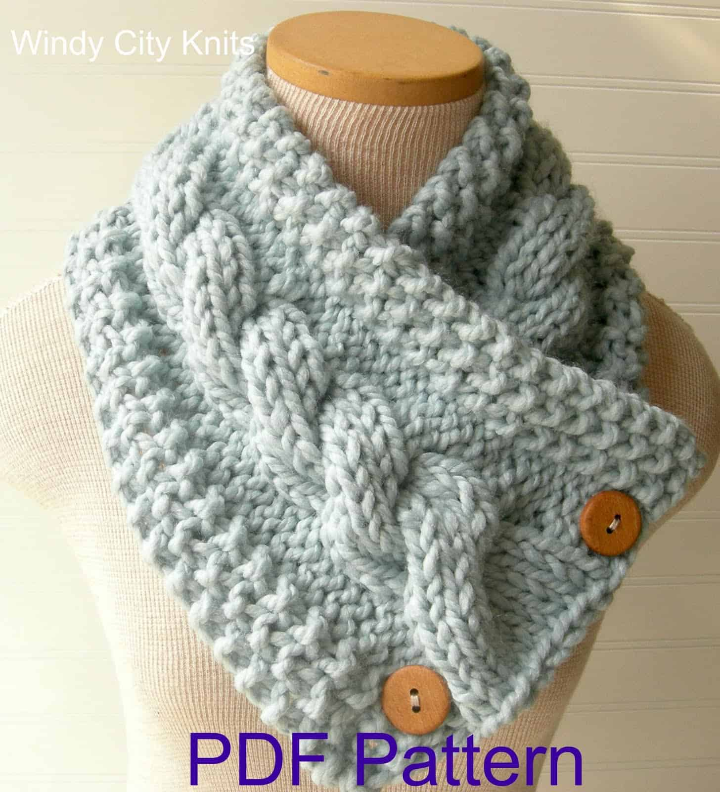 Knit Cable button cowl
