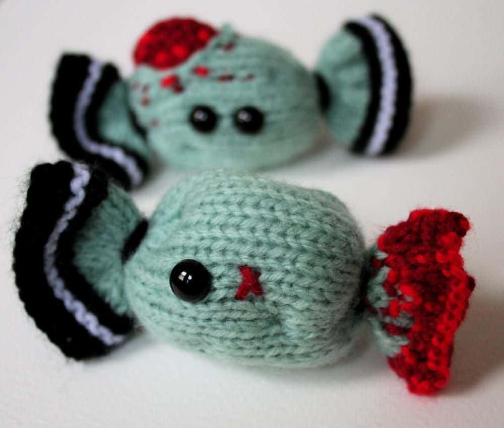 Knitted zombie Halloween candy