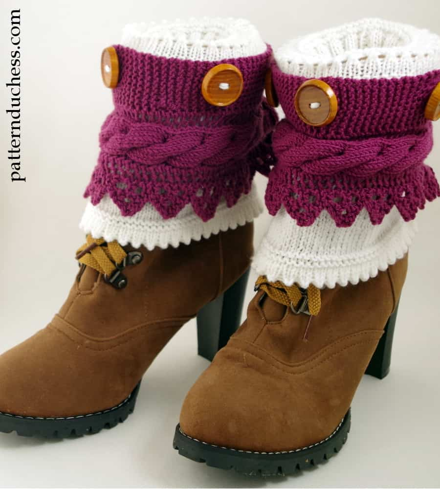Layered lace boot cuffs with buttons and cables