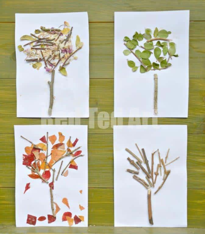 Leaf and stick tree art