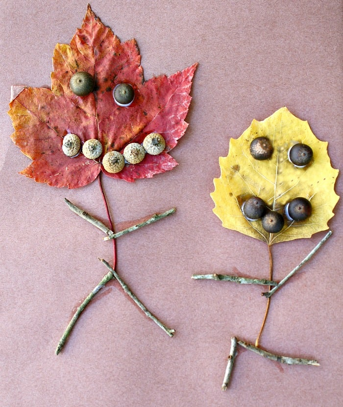 Leaf, stick, and acorn people