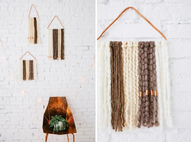 Multi-fibre yarn wall hanging