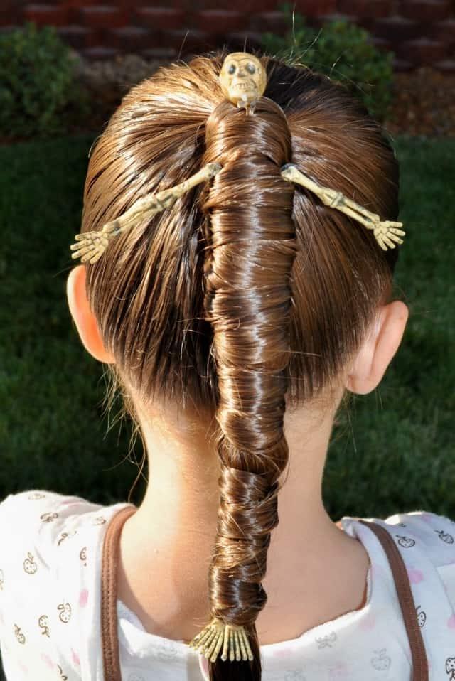 Mummy wrapped skeleton ponytail