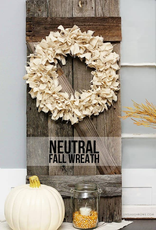 Neautral fall knotted rag wreath