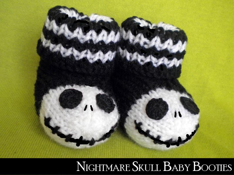 Nightmare Skull baby booties
