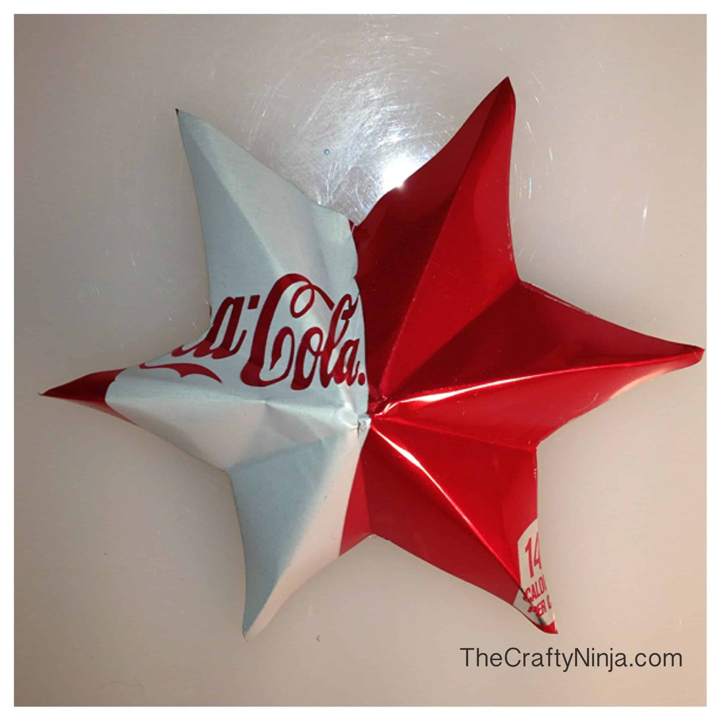 Ornamental star made from pop cans