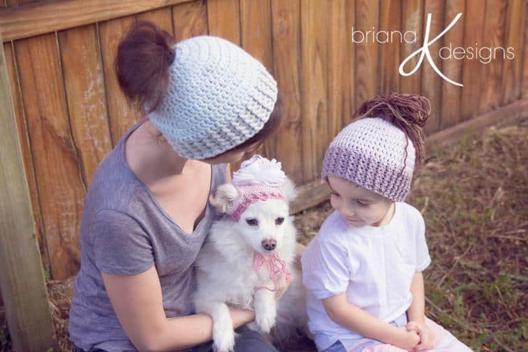 Owner and puppy ponytail hats