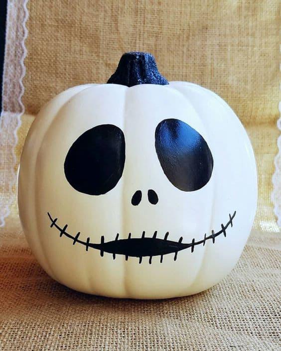 Painted Jack Skellington pumpkin