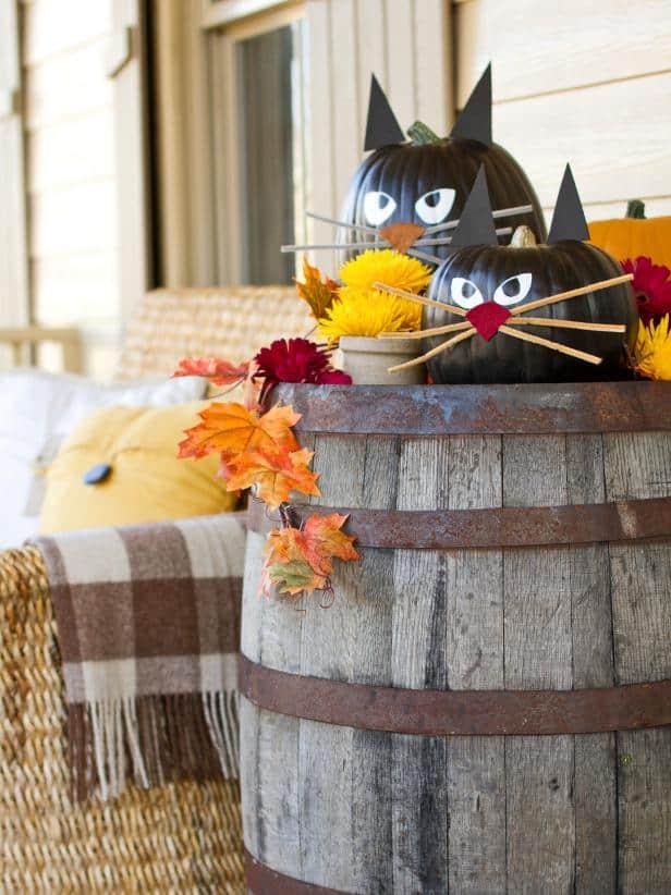 Painted black cat pumpkins