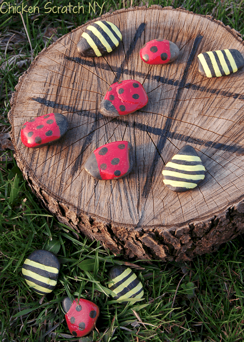 Painted rock and stump Tic Tac Toe