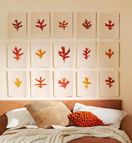 Paper backed pressed leaf wall collage