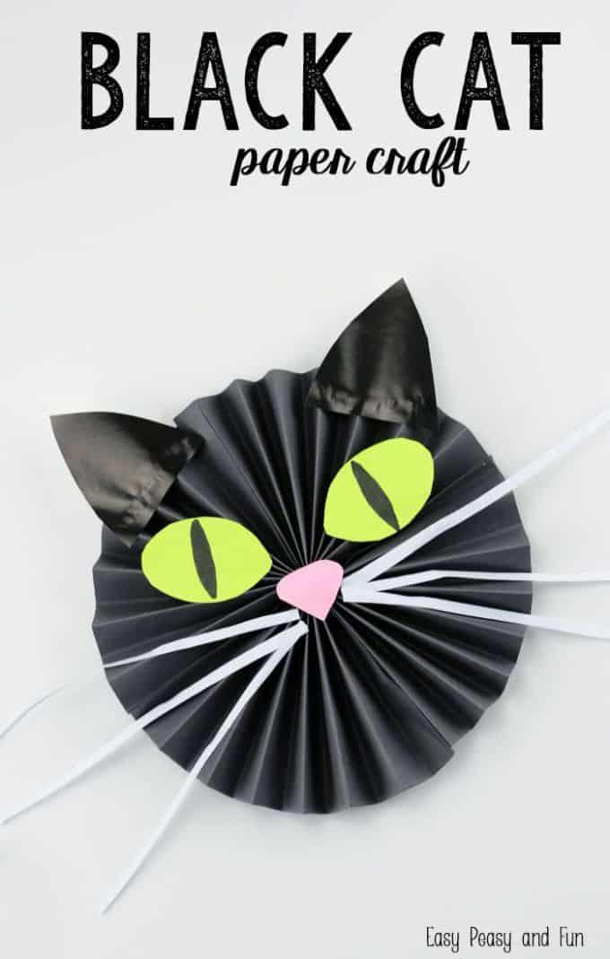 Paper fan style black cat