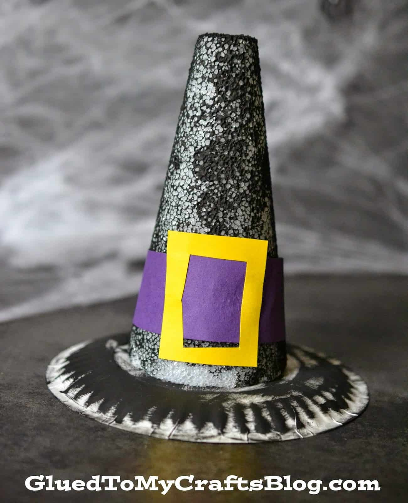 Paper plate and foam witch hat