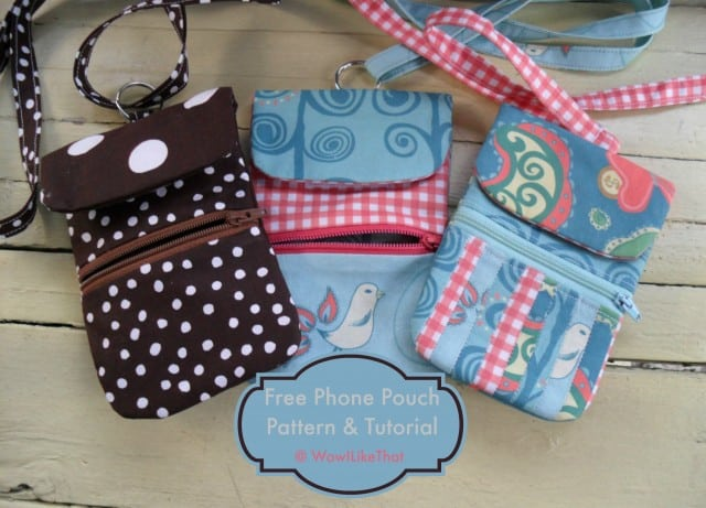 Patterned zipping phone pouch