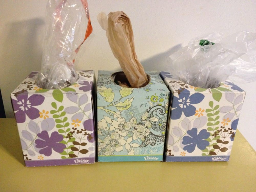 Plastic bag dispensers from a tissue box