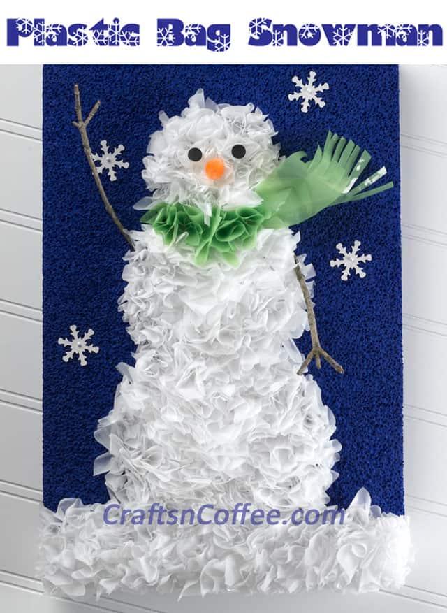 Plastic bag snowman art