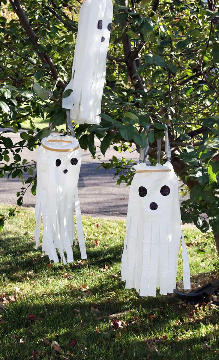 Plastic bag wind sock ghosts
