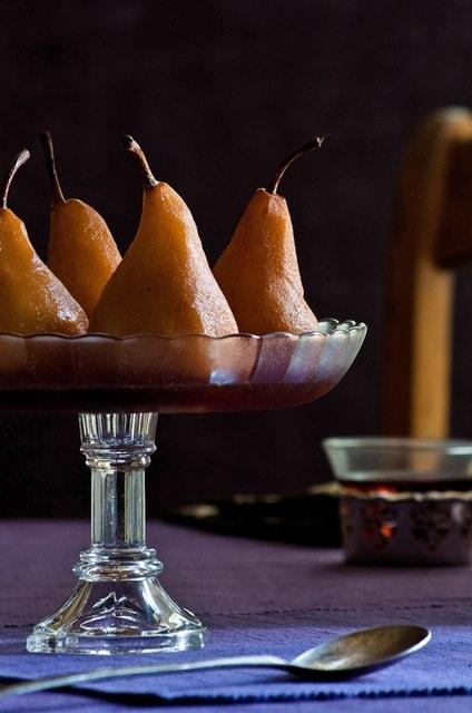 Poached pears in earl gray tea