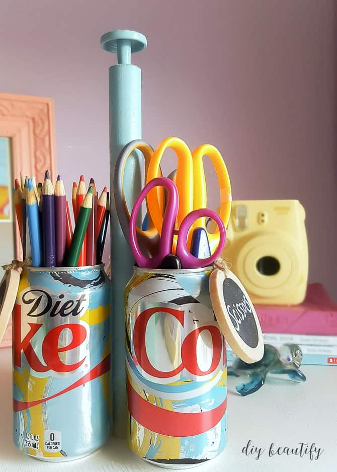 Pop can pencil holders