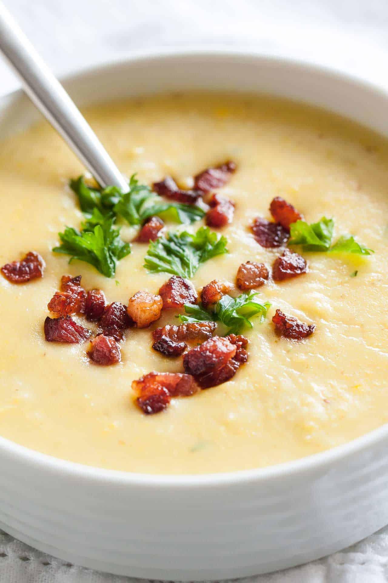 Potato bacon soup with corn