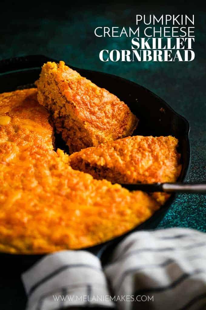 Pumpkin cream cheese skillet cornbread