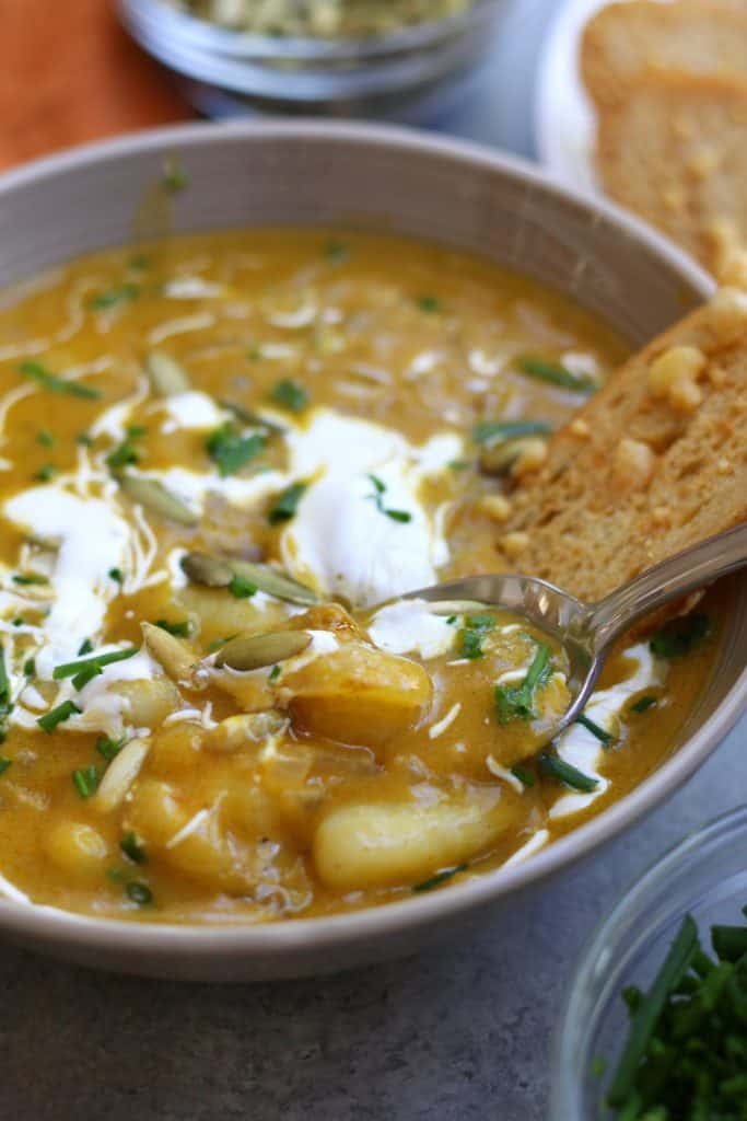 Pumpkin gnocchi soup