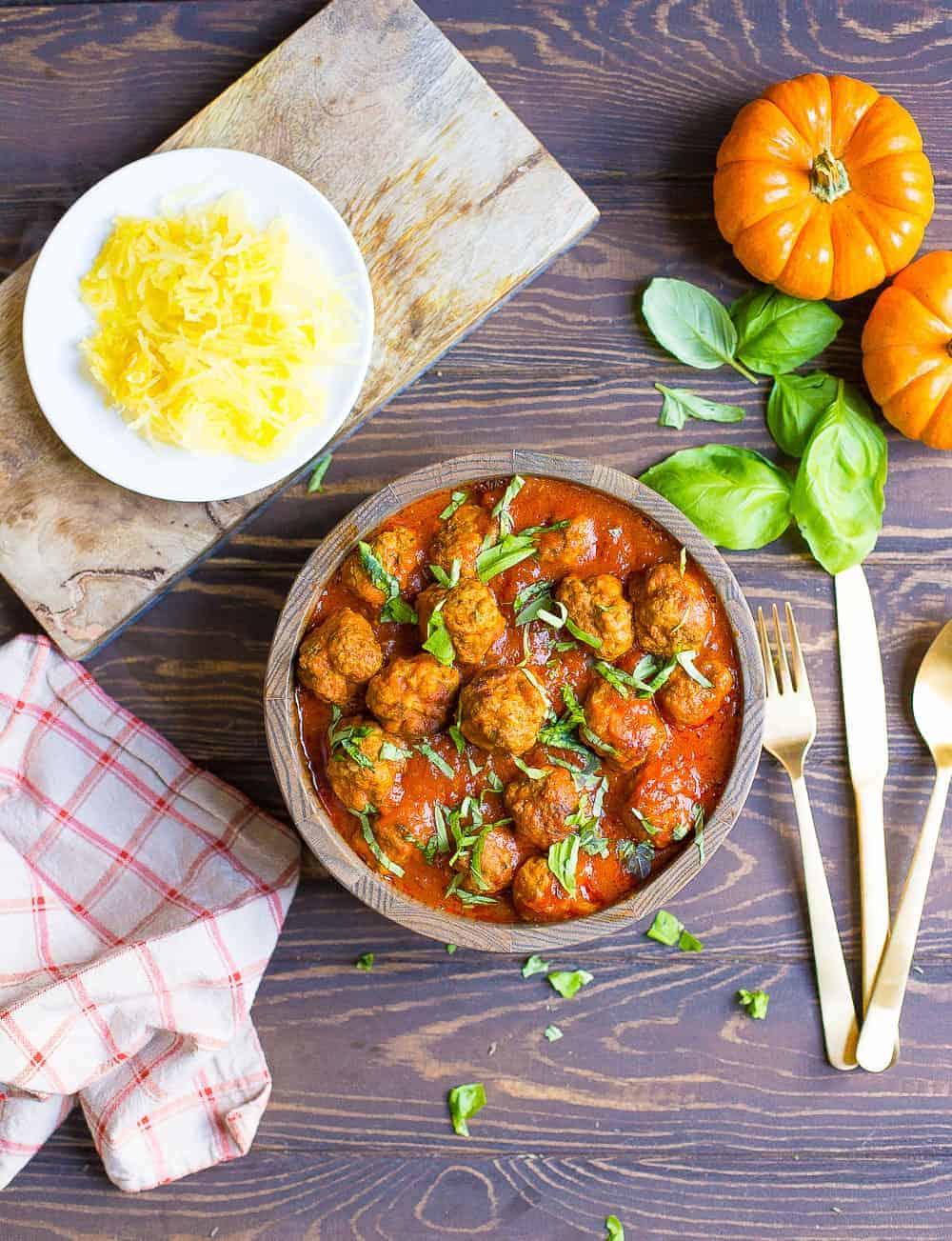Pumpkin tomato basil meatballs
