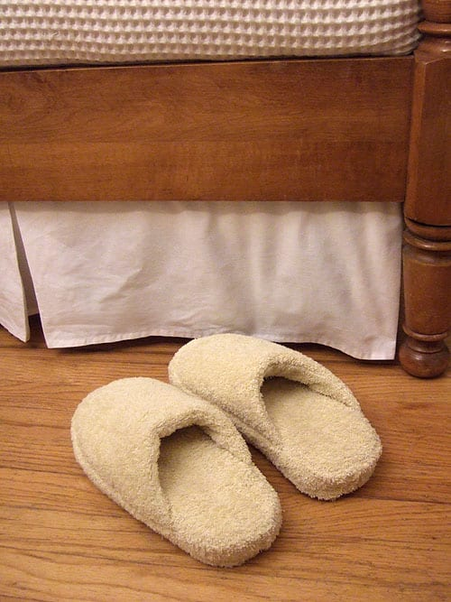 Repurposed bath towel slippers