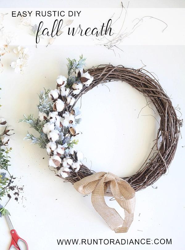 Rustic cotton fall wreath
