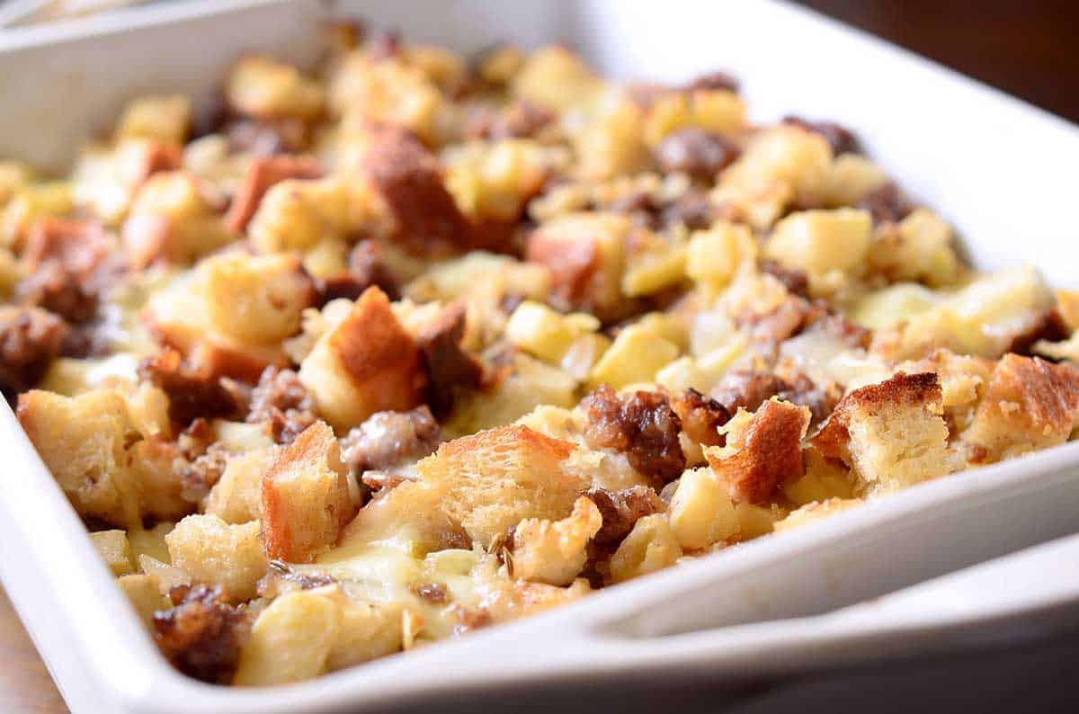 Sausage, apple, and brie stuffing