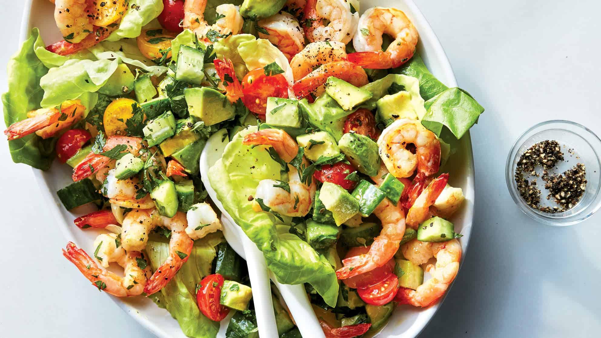 Shrimp tomato avocado salad