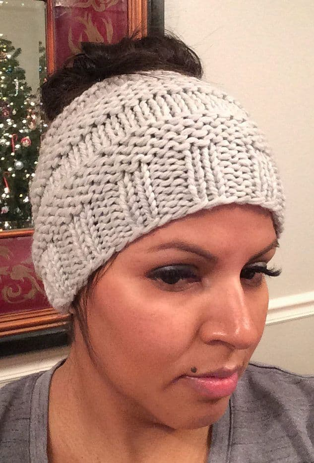 Simple garter and stockinette bun hat