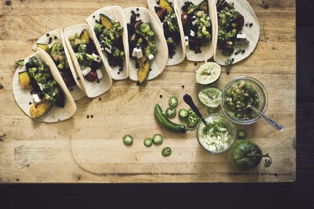 Smoky lentil tacos with kabocha squash and green tomato salsa