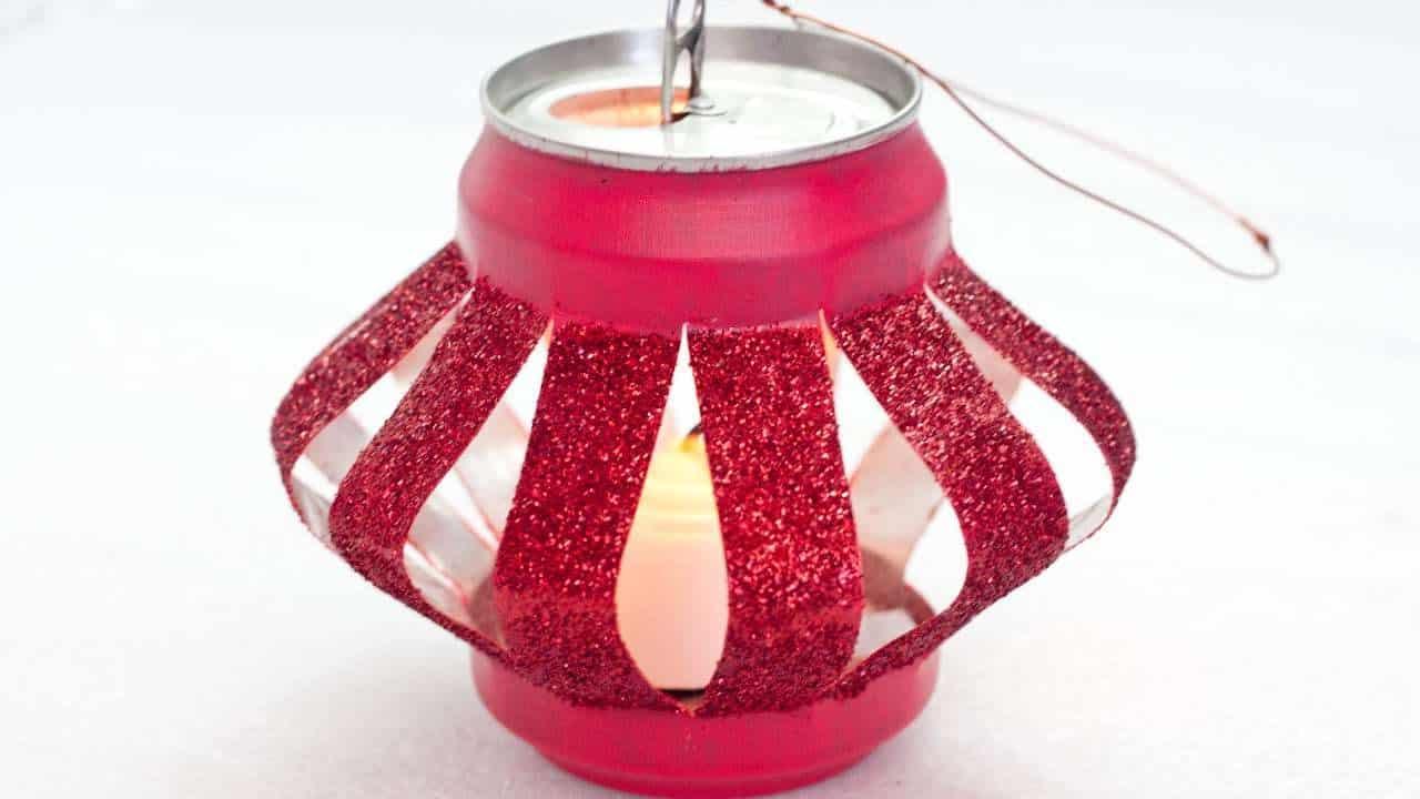 Sparkly soda can tea light hanger